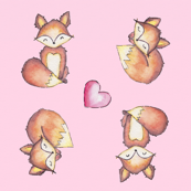 Foxes on Pink
