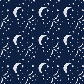 Once Starry Night, Oxford blue, moon, stars, baby
