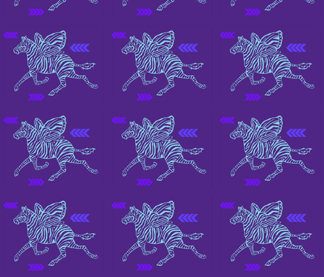 Zebra Fly in purple and pale blue on purple background fabric by lazella_rosetta on Spoonflower - custom fabric