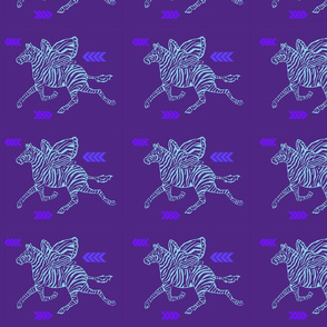 Zebra Fly in purple and pale blue on purple background