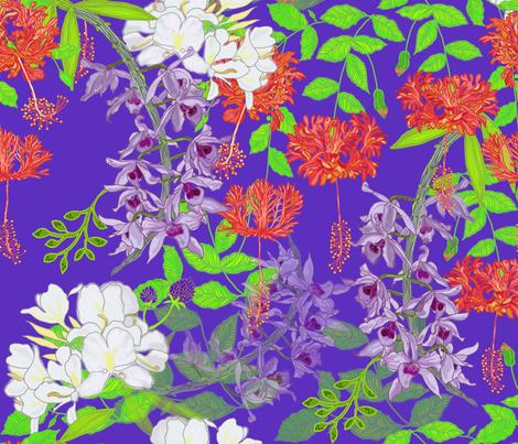 Hawaiian Garden Violet fabric by honoluludesign on Spoonflower - custom fabric
