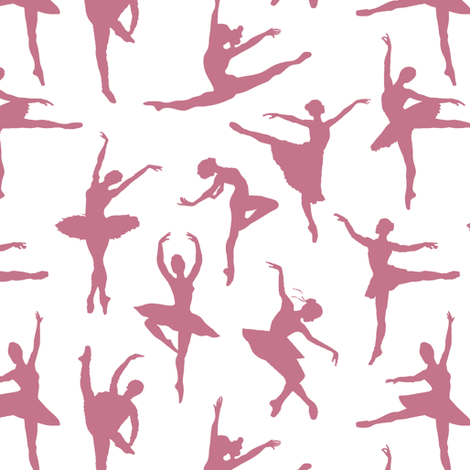 Mauve Ballerinas // Small fabric by thinlinetextiles on Spoonflower - custom fabric
