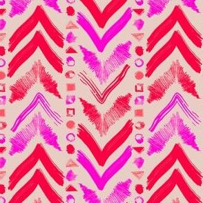 Tribal Scribble Kilim in Neon Coral + Neutral