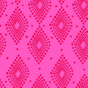 Mudcloth Dotty Diamonds in Neon Pink + Red