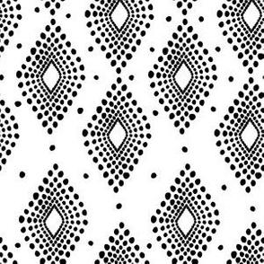 Mudcloth Dotty Diamonds in White + Black