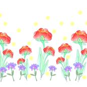 FLOWERS SPOONFLOWER REDS BLUES