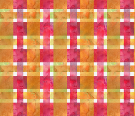 twill plaid watercolor yellow and pink fabric by madeinskandia on Spoonflower - custom fabric