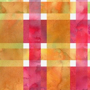 twill plaid watercolor yellow and pink