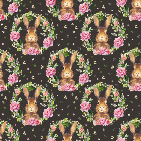 "4"" 2018 Some Bunny Loves Me / BROWN fabric by shopcabin on Spoonflower - custom fabric"