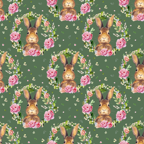"""4"""" 2018 Some Bunny Loves Me /  Dark Green fabric by shopcabin on Spoonflower - custom fabric"""
