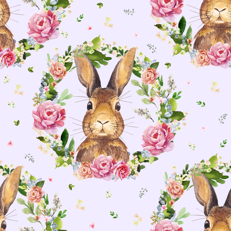 "8"" 2018 Some Bunny Loves Me / LILAC fabric by shopcabin on Spoonflower - custom fabric"