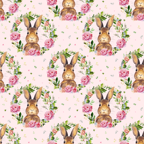 "4"" 2018 Some Bunny Loves Me / PINK fabric by shopcabin on Spoonflower - custom fabric"