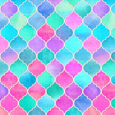 Bright Moroccan Morning - pink, purple, blue fabric by micklyn on Spoonflower - custom fabric