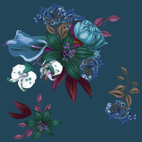 "8"" SUMMER TROPICS BOUQUET / Blue Hues / Dark Blue fabric by shopcabin on Spoonflower - custom fabric"