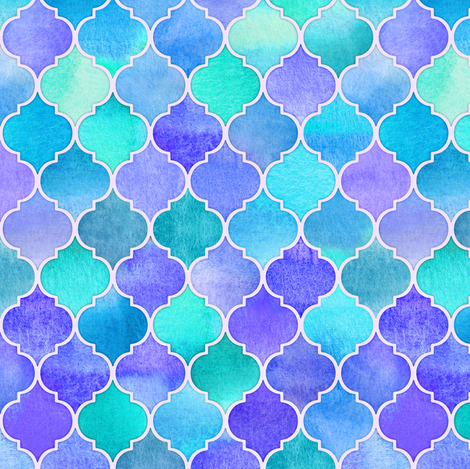 Iridescent Abalone Moroccan - purple, blue, aqua fabric by micklyn on Spoonflower - custom fabric