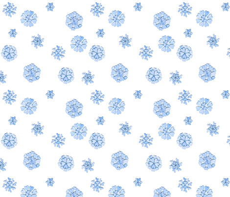 Blue heart flakes fabric by martha_emily_designs on Spoonflower - custom fabric
