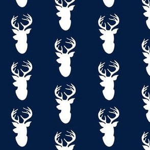 Deer Head Silhouette // Navy and White