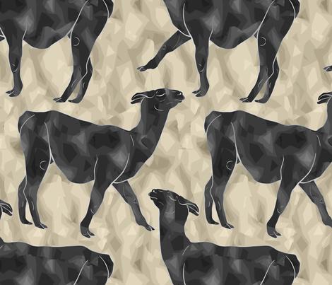 Moody Mod Llamas - charcoal sand fabric by rusticcorgi on Spoonflower - custom fabric