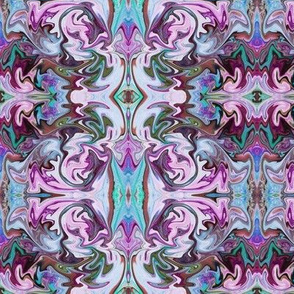 BNS2 - Marbled Mystery Swirling Tapestry in purple, lilac, turquoise and olive green - large scale