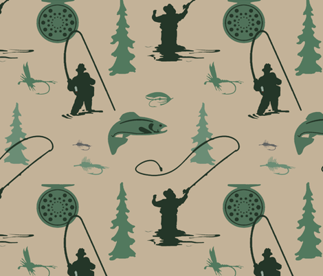 Fly Fishing in Montana fabric by adrianne_vanalstine on Spoonflower - custom fabric