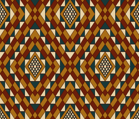 Kilim Carpet Teal accent fabric by house_of_heasman on Spoonflower - custom fabric
