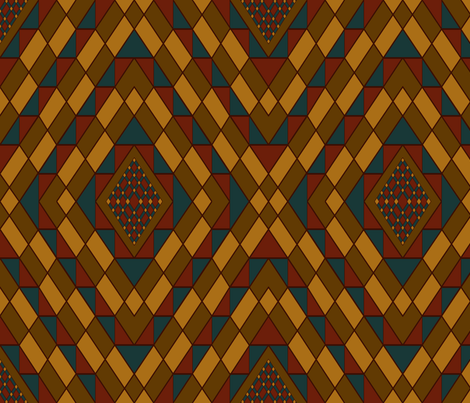 Kilim Carpet  burgundy accent fabric by house_of_heasman on Spoonflower - custom fabric