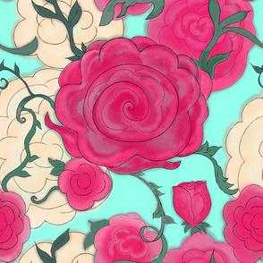 Project 607 | Watercolor Cottage Rose on  Aqua Blue