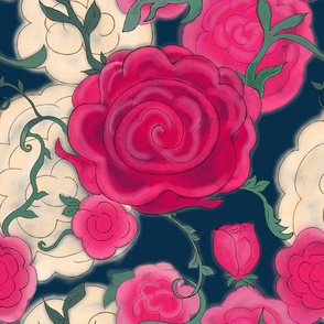 Project 607   Watercolor Cottage Rose on  Dark Midnight Blue