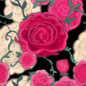 Project 607 | Watercolor Cottage Rose on Black