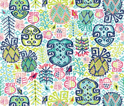 Tropik Bahci Kilim (white) weaved fabric by helenpdesigns on Spoonflower - custom fabric