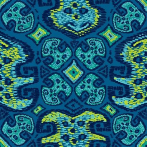 Monstera Kilim (Mykonos blue)