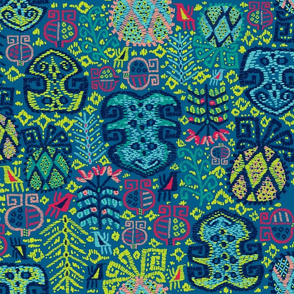 Tropik Bahci Kilim (Pantone Mykonos Blue) weaved
