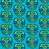 Monstera kilim N1 (Pantone Scuba blue)