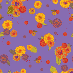 Marigolds & Zinnias Purple