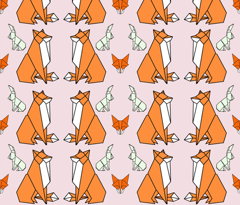 Fox & Hare fabric by craftsturbator_ on Spoonflower - custom fabric