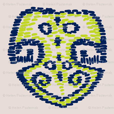 Lime Punch Monstera kilim N1 (Pantone Almost Mauve)