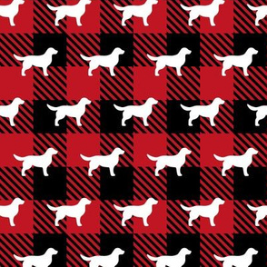 Golden Retriever Red Buffalo Plaid