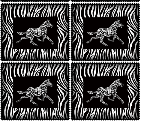 zebra on black and zebra background fabric by lazella_rosetta on Spoonflower - custom fabric