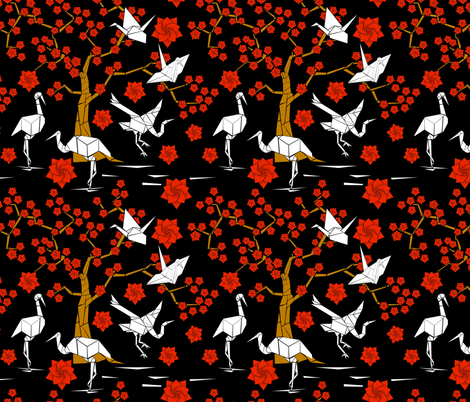 Oragami Crane fabric by jacquelynbizzottodesign on Spoonflower - custom fabric