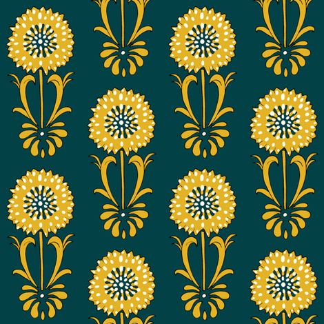 Dotted floral_ochre and deep turquoise fabric by carrie_narducci on Spoonflower - custom fabric