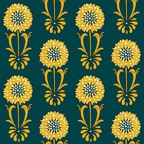Dotted floral_ochre and deep turquoise