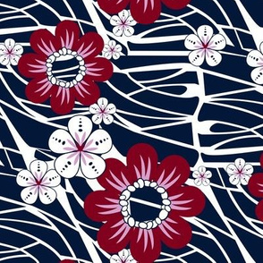 Hawaiian Floral in Navy and Burgundy
