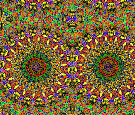 Kitty Klimt Kaleidoscope fabric by ciswee on Spoonflower - custom fabric