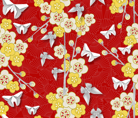 Japanese Floral with Butterflies fabric by j9design on Spoonflower - custom fabric