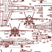F-18 Blueprints in Red // Large