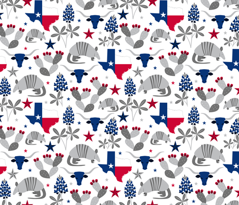 Texas State Symbols fabric by robyriker on Spoonflower - custom fabric