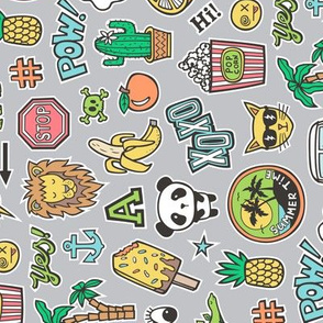 Patches Stickers 90s Summer Doodle Cactus, Panda, Cats, Ice Cream, Palm Tree, Camper Van on Grey Rotated