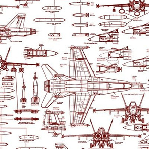 F-18 Blueprints Red // Small