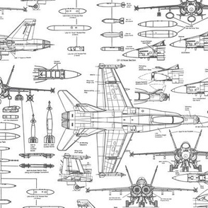 F-18 Blueprints in Grey // Small