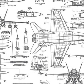 F-18 Blueprints in Grey // Large